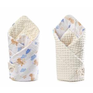 Paturica nou-nascut Sensillo Minky Wrap bej 80x80 cm